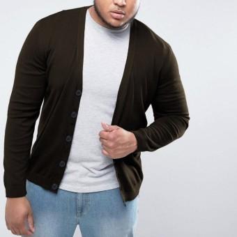 Okechuku Rico Cardigan Rajut Pria Size Jumbo / BIG SIZE (Coklat Tua)