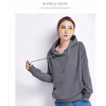 Okechuku Sweater Hoodie Fashion Wanita Korean Style Bahan FLEECE (Abu Tua) 3f437bd393