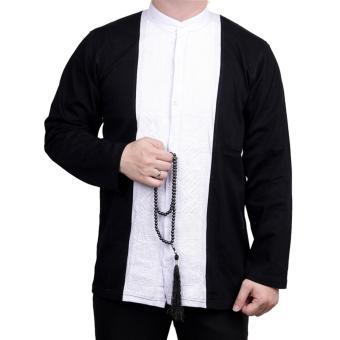 Ormano Baju Koko Muslim Batik Lengan Panjang Lebaran ZO17 KK58 Kemeja Fashion Pria - Hitam