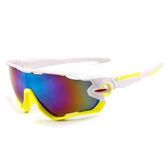 Outdoor Sport Sunglasses Pria & Wanita Colorful Lensa Fashion Sunglasses (Putih Hijau)-Intl