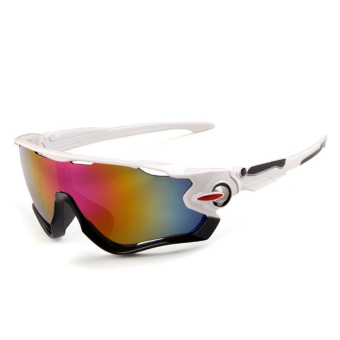 Outdoor Sport Sunglasses Pria & Wanita Colorful Lensa Fashion Sunglasses (Putih Ungu)-Intl