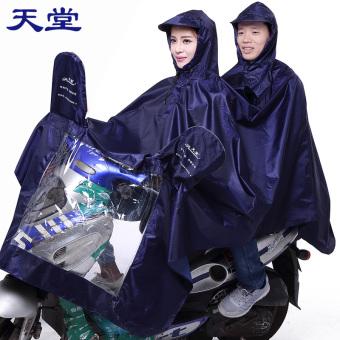 Paradise Oxford kain Ukuran Plus untuk pria dan wanita dewasa jas hujan ponco ganda (Biru