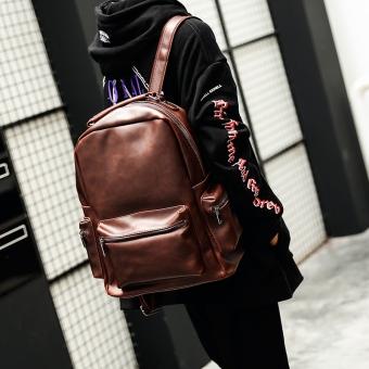 Pasang Laki-laki Korea Fashion Style Kulit Kuda Gila Tas Siswa Tas Ransel Baru Tas
