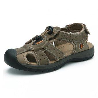 PATHFINDER Pria Datar Kulit Sandal Sandal Sepatu (Khaki)