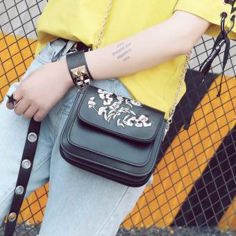 Persegi kecil Korea Fashion Style tas retro bordir tas kecil tas wanita ( Hitam)