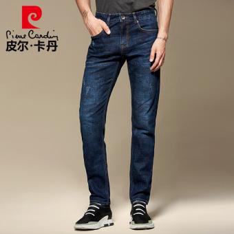 Pierre Cardin pria musim gugur pria lurus celana jeans anak celana jeans kamuflase (Biru)