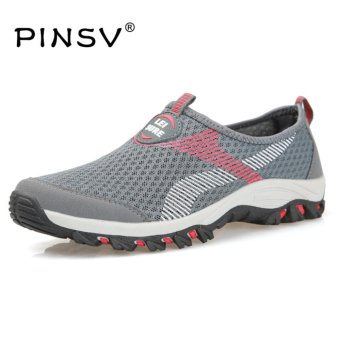 PINSV Air Mesh Summer Shoes Men Loafers Slip On Flats Shoes Men Casual Shoes Size 39-47-Grey - intl