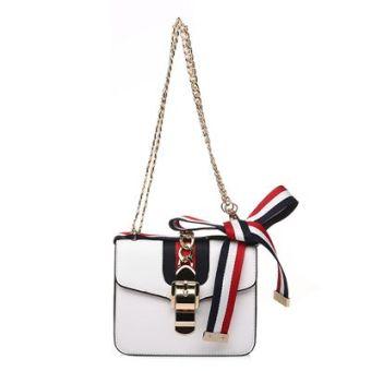 Pita warna hit tas kecil paket persegi tas wanita (Putih bagian kecil)
