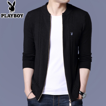 PLAYBOY Korea laki-laki merajut Slim cardigan sweater (Hitam)