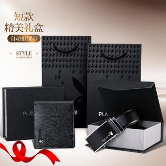 PLAYBOY lapisan pertama dari kulit muda sabuk kulit kotak hadiah pria ayat pendek dompet (Otomatis