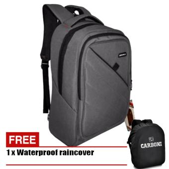 Carboni Tas Ransel Laptop 17 Inchi AA00050 Polyester Serat Nylon Original - Grey + Raincover