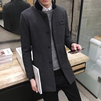Musim dingin Pria Wol Mantel wol jaket model setengah panjang Gaya Korea  membentuk tubuh pakaian musim 83244021ef