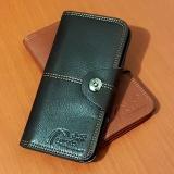Detail Gambar PU Leather Dompet Panjang 8 Inchi 8828-03B Dengan Kancing Import - Black Terbaru
