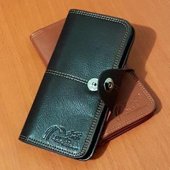 PU Leather Dompet Panjang 8 Inchi 8828-03B Dengan Kancing Import - Black