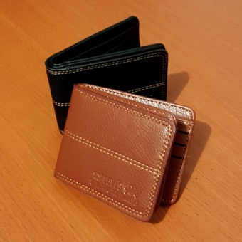 PU Leather Dompet Pria Fashion Wallet 5 Inchi 8828-13 Casual Import - Dark Brown