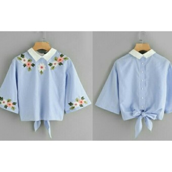 PusatFashion Blouse Wanita Florence Kombi Bordier - BLUE