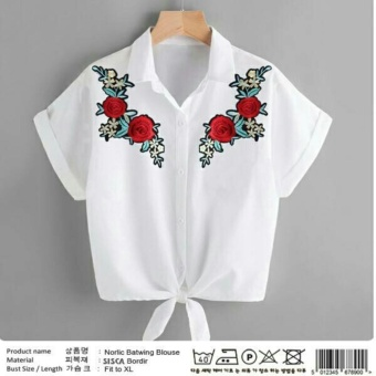 PusatFashion Blouse Women Motif Flower Bordier - White