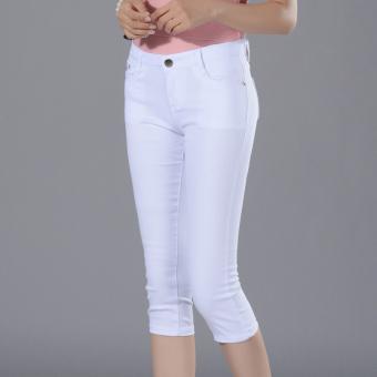Celana Cargo Putih Perempuan Celana Pensil Perempuan Terlihat Langsing (Putih)