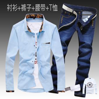 Kemeja Korea Modis Gaya Semi atau Celana Koboi Panjang (Emas Cahaya/Lima Kuku Celana