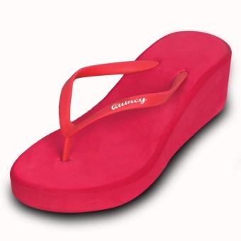 Quincy - Sandal Jepit Wedges Molly - Merah