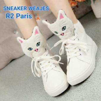 r2 paris sepatu sneakers wedges cat miau – putih
