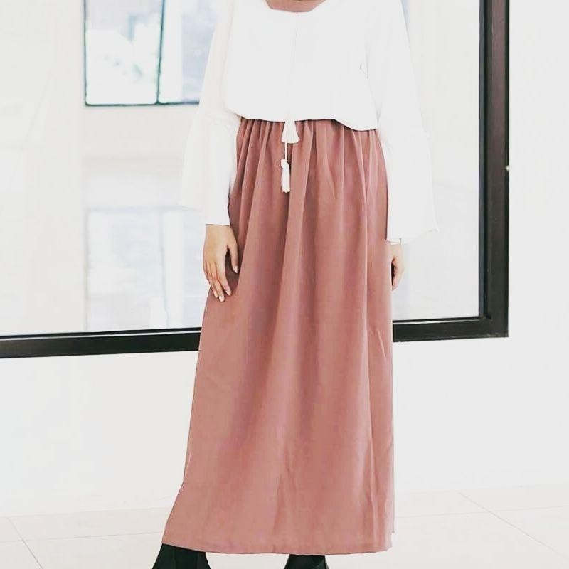 rok panjang polos wolfis daily wear all size fit to xl