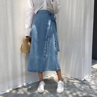 Rok Wanita Panjang Sedang Kasual Bahan Jeans Warna Biru (Biru)