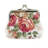 Roses Canvas Dompet Koin Mini Klasik Wanita Kain Gesper Koin Bag-Pink .