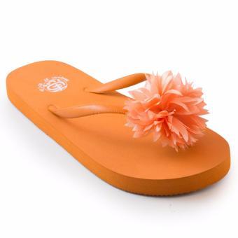 Sandal Jepit Wanita Terbaru PomPom - Orange