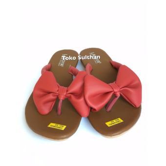 Sandal Teplek Flat Jepit Pita - MERAH