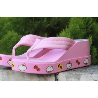 Sandal Wedges Jepit Hello Kittywedges Japit Hello Kitty Tb-1190 Pink