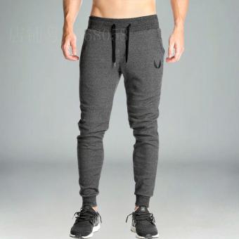 Saudara Celana Panjang Otot Kebugaran Celana Olahraga Kasual Pria (Abu-abu Gelap)