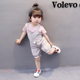 Sayang Korea Fashion Style Musim Panas Perempuan Baru Anak-anak Set (Kucing Suspender Merah