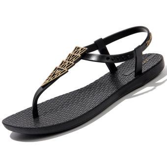 Sederhana datar siswa sandal jepit datar dengan sandal dan sandal sandal (Model perempuan + Hitam