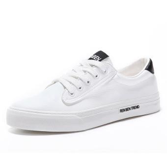 Renben Sepatu Putih Wanita Ukuran Besar Bertali Pergelangan Kesemek Rendah (Putih Hitam) (Putih