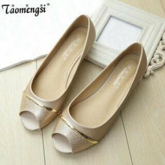 Sepatu balet flat shoes gliter hitam cream murah