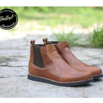 Sepatu Boots Brodo Kulit Asli Pria Formal - BRADLEYS ELAGOS - Hitam - Coklat - Kuning