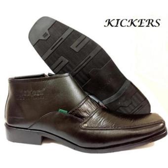 Sepatu Kickers Kulit Sepatu Kerja Formal Pria Model Resleting - Hitam
