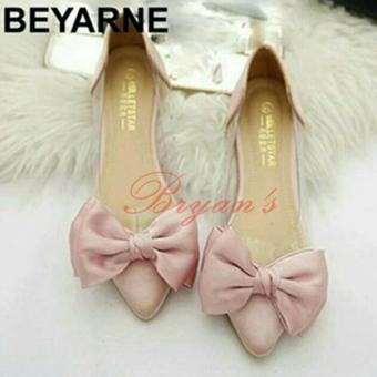 Sepatu Plat Shoes Kaca Pita Peach