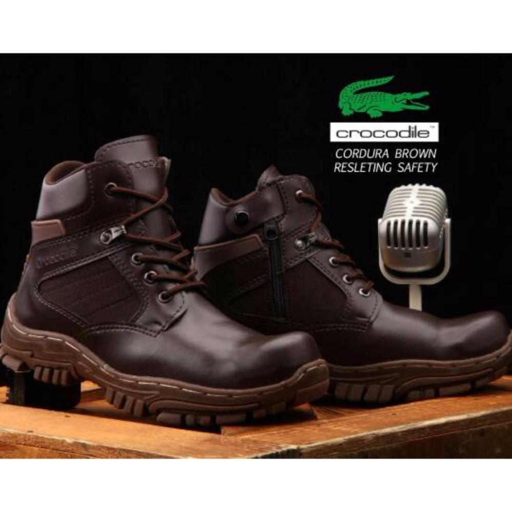 Sepatu Boots Safety Kickers Sleting Pria Ujung Besi Hitam Daftar Boot Tactical Army Sefty  Tactikal Kikers Bandingkan Toko Crocodile Cordura Resleting Brown Harga Baru