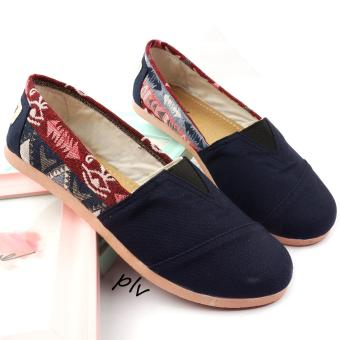 Sepatu Wanita Flat Shoes Slip On Kanvas Tribal NS81 - Navy
