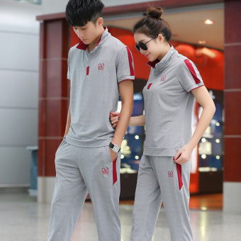 Setelan Lengan Pendek Celana Panjang Pria atau Wanita Baju Olahraga  (Abu-abu Merah) 8015497a41