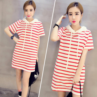 Shanke Kaos Wanita Model Panjang Sedang Longgar Lengan Pendek Motif Salur (5805 merah)