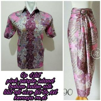 Shining Collection Couple Rok Lilit Maxi Denisa dan Kemeja Batik Pria