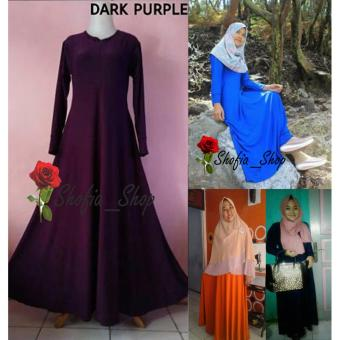 Shofia - Dark Purple - Gamis Polos Jersey Super Busui Muslimah AllSize Fit to XL