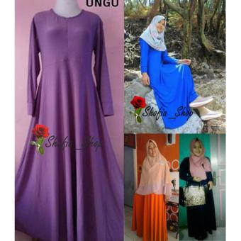 Shofia - Ungu - Gamis Polos Jersey Super Busui Muslimah All SizeFit to XL