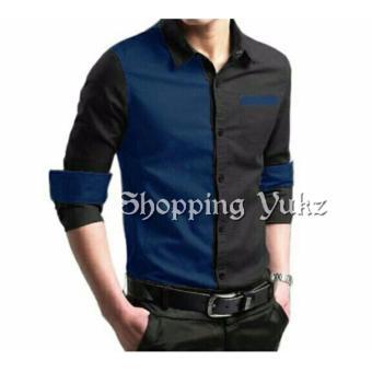 Shopping Yukz Kemeja Pria Lengan Panjang Kem Willie - Navy / Kemeja Formal Pria / Kemeja