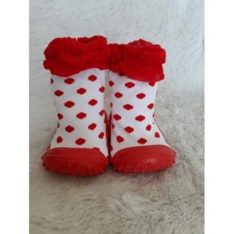 Skidder renda polka tutu merah sepatu kaos kaki alas karet baby