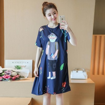 Small Wow Maternity Cute Round Collar Print Short Sleeve Chiffon Loose Long Dress - intl