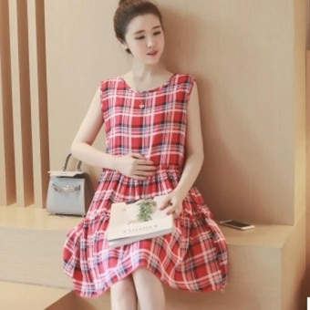 Small Wow Maternity Going Out Round Collar Plaid Sleeveless Cotton Regular Long Dress - intl